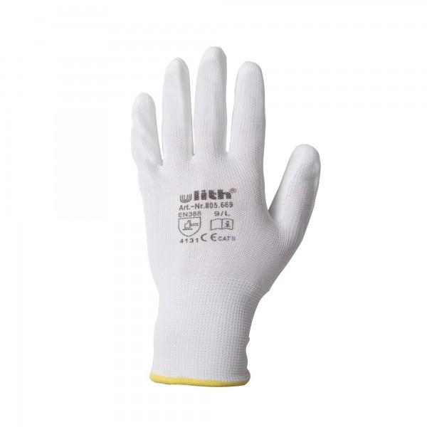 Arbeitshandschuhe Handschuhe PU / Nylon Feinstrick weiß Größe 9