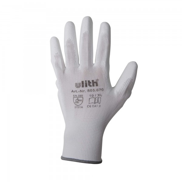 Arbeitshandschuhe Handschuhe PU / Nylon Feinstrick weiß Größe 10